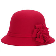 Women Vintage Imitation Wool Flower Felt Dress Hat Warm Sunshade Cloche Bucket Cap