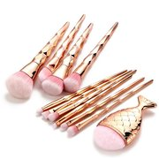 11 Pieces Rose Gold Mermaid Makeup Brush Set Fishtail Shaped Foundation Powder Cosmetics Brushes