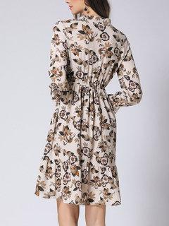 Fleurs imprimées à manches longues bow femmes robes en mousseline de soie
