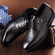 Men's Genuine Leather Pointed Toe Metal Buckle Business Dress Shoes