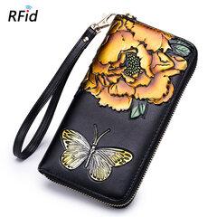 Brenice pochette à rose gaufrée portefeuille RFID rétro à papillon 8 porte-cartes
