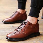 الرجال ارتفاع كعب خفي زيادة مريح أحذية جلدية عارضة