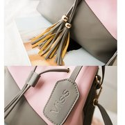 Women Bucket Color Matching Cute Draw String Shoulder Bags Crossbody Bags