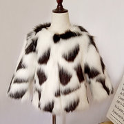 Faux Fur Girls Winter Coats Long Sleeve Printed Jackets For 2Y-13Y