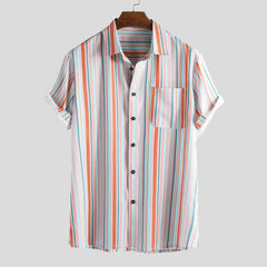 Mens Holiday Colorful Stripe Printed Loose Turn Down Collar Short Sleeve Shirt