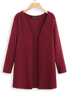 Casual Solid Color Long Sleeve Plus Size Cardigan