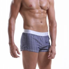 Men Home Causal Cotton Unterwäsche Plaid Knitting Mid Waist Liner Pouch Boxer Kurze Shorts