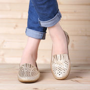 Women Soft Breathable Hollow Leather Round Toe Flat Loafers Shoes