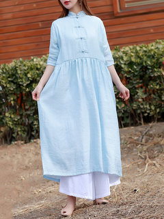 Chino Stand Stand Pure Baggy Dresses para mujeres