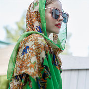 Women Priting Cotton Ethnic Style Breathable Summer Scarves Shawl Wraps Casual Travel Sunshade Scarf