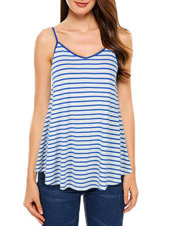 Striped Spaghetti Strap Casual Mid Length Shirts