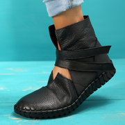 Plus Size Women Soft Breathable Genuine Leather Hook Loop Flat Boots