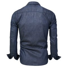 Men's Polka Dot Decoration Denim Long Sleeve Slim Fit Casual Shirt