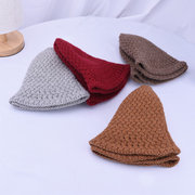Mujer Foldable Winter Warm Soft Gorro de punto grueso de lana Sombrero Elegante Casual Wild Party Sun Bucket Cap