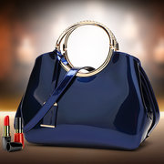 Women Bright PU Leather Elegant Red Handbag Shoulder Bag
