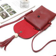 Women Casual Mini Crossbody Bag PU Tassel Phone Bag Concise Bucket Shoulder Bag