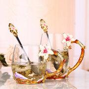 Taza de jugo de cristal de esmalte de flor de lirio Flor de taza de agua Taza de té