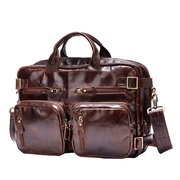 Hand-held Messenger Shoulder Multi-function Package Retro Oil Wax Cow Leather Portable Bag For Men