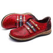 SOCOFY Sooo Comfy Retro Colorful Gancho Loop Couro Genuíno Costura Rendas Costura Sapatos Baixos