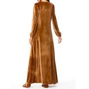 Islam Muslim Velvet Embroidery Pocket Brown Long Sleeve Dress