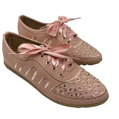 Mulheres Comfy Rhinestone Lace Up Sapatos Rasos