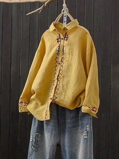 Embroidery Loose Turn-down Collar Long Sleeve Botton Shirt