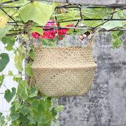 للطي زهرة وعاء القش سلال التخزين إناء معلق حاويات التخزين حديقة الغراس المنظمة