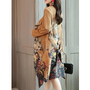 Trench Coat Floral Sash Pocket Coat