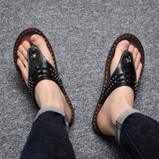 Men Hand Stitching Soft Clip Toe Beach Slippers Leather Flip Flops