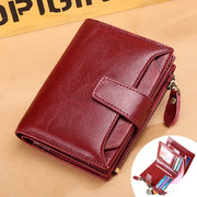 Women Bifold Solid Genuine Leather Short Wallet 11 Card Slot Vintage Coin Purse