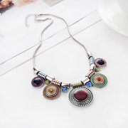 Bohemian Short Necklace Ethnic Alloy Necklace Alloy Diamond Necklace Sweater Women Necklaces