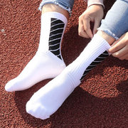 Mens Solid Stripe Cotton Long Tube Socks Comfortable Breathable Bacteriostat Sport Business Socks