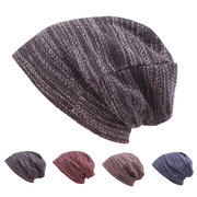 Mens Women Cotton Outdoor Slouch Beanie Hat Pure Color Knitted Striped Elastic Cap