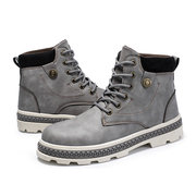 Homens Outdoor Redondo Toe Antiderrapante Casual Ankle Boots