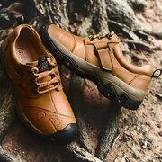 Men Genuine Leather Outdoor Wear Resistant Hook-loop Shoes