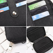 Women RFID Genuine Leather Bifold 12 Card Slot Wallet Slim Coin Purse