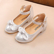 Girls Bowknot Decor Shiny Color Metal Buckle Princess Mary Jane Shoes