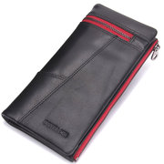 Retro Business Long Wallet 10 Card Holders Genuine Leather Phone Bag Coin Bag For Men