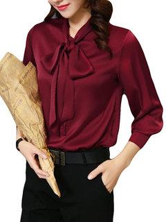 Camisas de seda con lazo de raso y manga larga