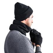 Homens Inverno Mistura de lã sólida Inverno Esqui ao ar livre Viagem Quente Chapéu Cachecol Luvas Terno