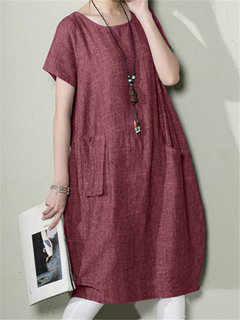 Crew Neck Baggy Tunic Short Sleeve Casual Dress