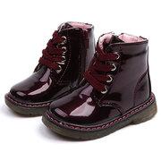 Unisex Kids Lace Up Decor botas curtas impermeável com zíper