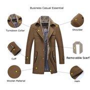 Abrigo cálido de lana de solapa con cremallera y botonadura singular para hombres