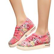 Impressão de flores Lace Up calcanhar oculto sapatos casuais