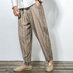 Harem pantaloni in cotone puro a righe