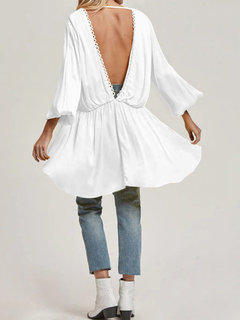 Bohemian Sexy Backless High Low V Neck Blouse