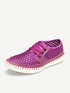 Breathable Mesh Lace Up Soft Sole Flat Casual Shoes For Women