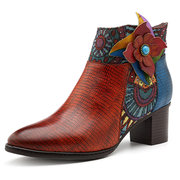 SOCOFY Cowgirl Genuine Leather Splicing Jacquard Handmade Zipper Ankle Comfortable Boots
