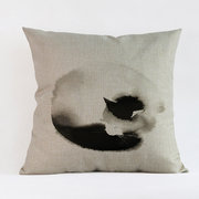 Ink and Wash Cat Cotton Linen Cushion Cover Pillow Case Car Sofa Bed Home Decor 45x45cm
