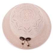 Womens Hollow Vogue Solid Bucket Cap Wild Breathable Outdoor Travel Sun Straw Hat